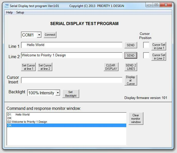 Serial lcd display test program main screen