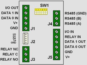 wiegand extender module pin connections